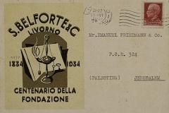 Cartolina postale inviata a cliente in Palestina, 1935, fronte