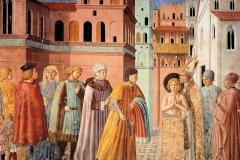 Umbria Montefalco San francesco rinuncia ai beni parterni, affresco di Benozzo Gozzoli nella chiesa di San Francesco (1450-52)