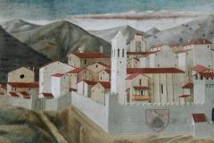 Umbria Montefalco dipinta da Benozzo Gozzoli in un affresco della chiesa di San Francesco (1450-52)